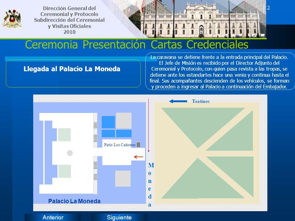 SiguienteAnterior 2 Ceremonia Presentación Cartas Credenciales Llegada al Palacio La Moneda La caravana se detiene frente a la entrada principal del P