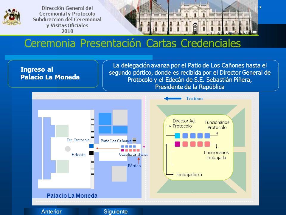 SiguienteAnterior 3 Ceremonia Presentación Cartas Credenciales Ingreso al Palacio La Moneda La delegación avanza por el Patio de Los Cañones hasta el