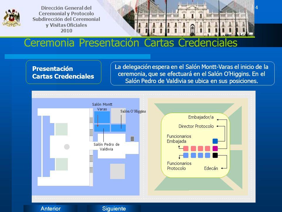 SiguienteAnterior 4 Ceremonia Presentación Cartas Credenciales Presentación Cartas Credenciales La delegación espera en el Salón Montt-Varas el inicio