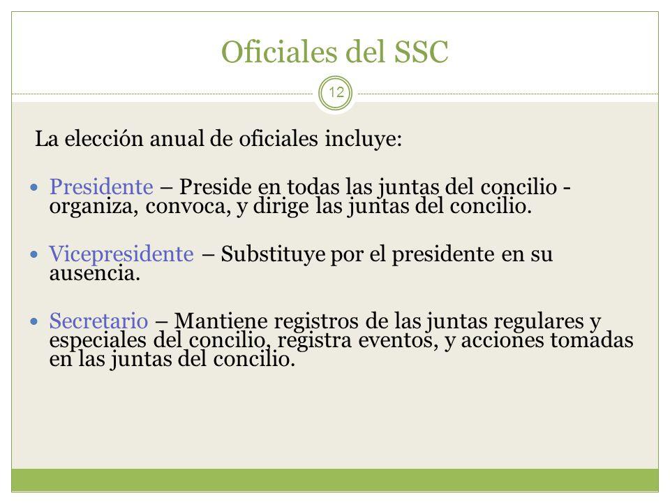 Oficiales del SSC 12 La elección anual de oficiales incluye: Presidente – Preside en todas las juntas del concilio - organiza, convoca, y dirige las j