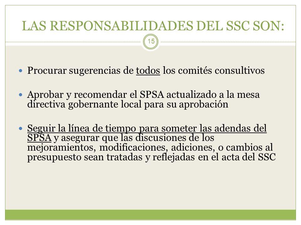 LAS RESPONSABILIDADES DEL SSC SON: 15 Procurar sugerencias de todos los comités consultivos Aprobar y recomendar el SPSA actualizado a la mesa directi