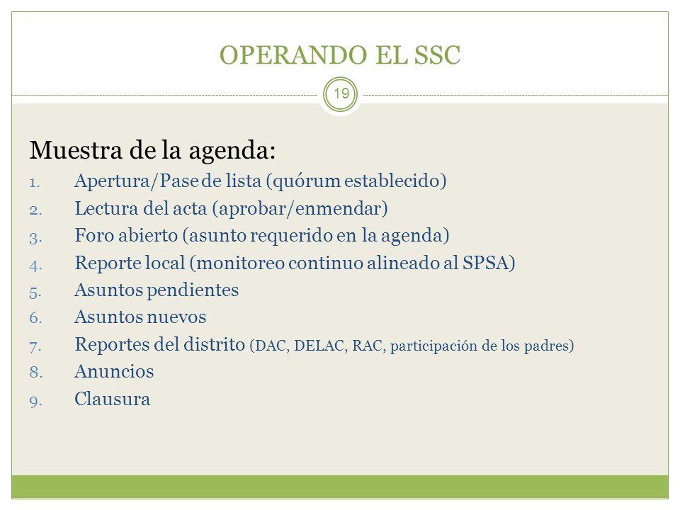 OPERANDO EL SSC 19 Muestra de la agenda: 1. Apertura/Pase de lista (quórum establecido) 2. Lectura del acta (aprobar/enmendar) 3. Foro abierto (asunto