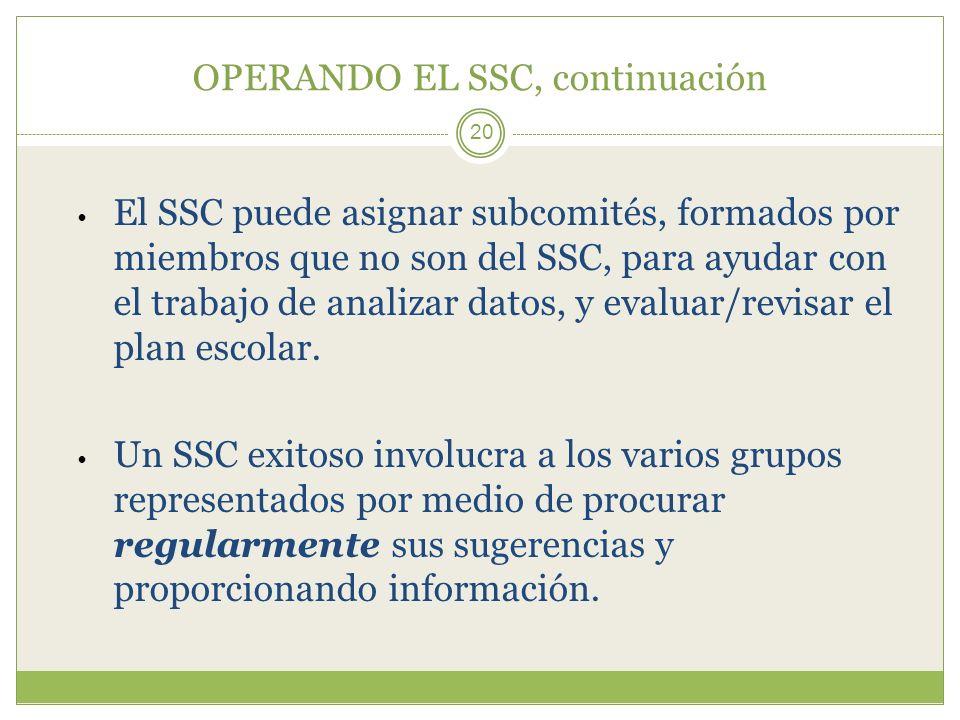 OPERANDO EL SSC, continuación 20 El SSC puede asignar subcomités, formados por miembros que no son del SSC, para ayudar con el trabajo de analizar dat