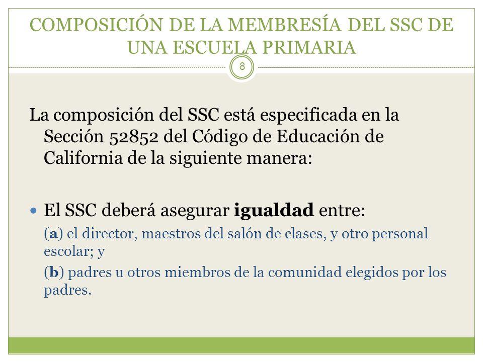 COMPOSICIÓN DE LA MEMBRESÍA DEL SSC DE UNA ESCUELA PRIMARIA 8 La composición del SSC está especificada en la Sección 52852 del Código de Educación de