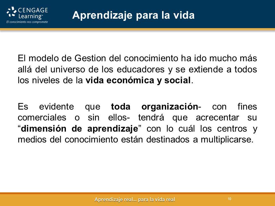 10 Aprendizaje para la vida El modelo de Gestion del conocimiento ha ido mucho más allá del universo de los educadores y se extiende a todos los niveles de la vida económica y social.