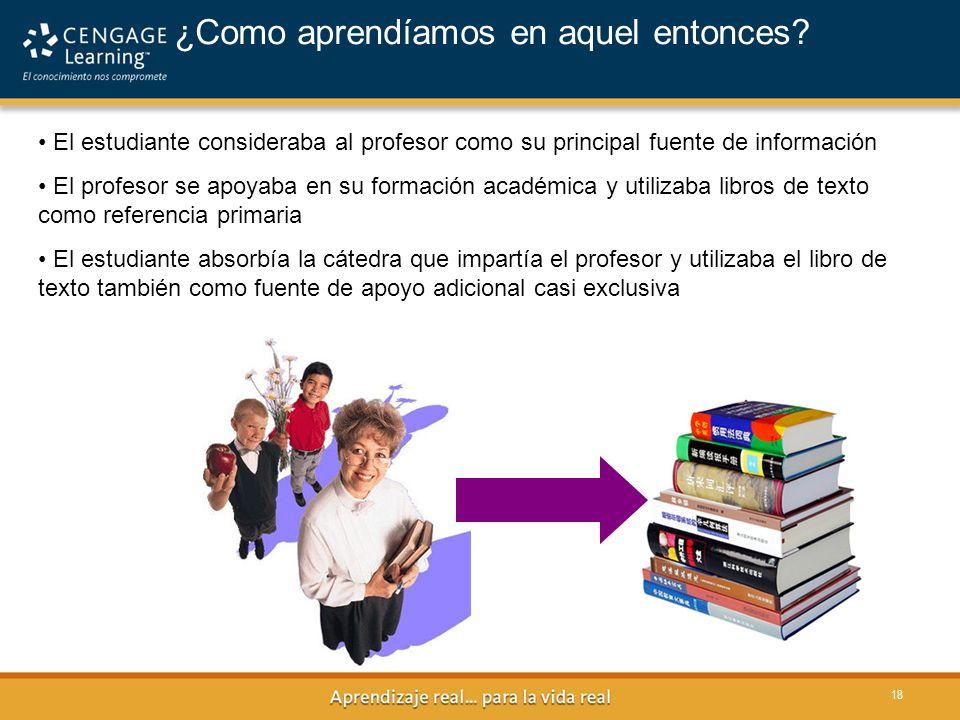 18 ¿Como aprendíamos en aquel entonces? El estudiante consideraba al profesor como su principal fuente de información El profesor se apoyaba en su for