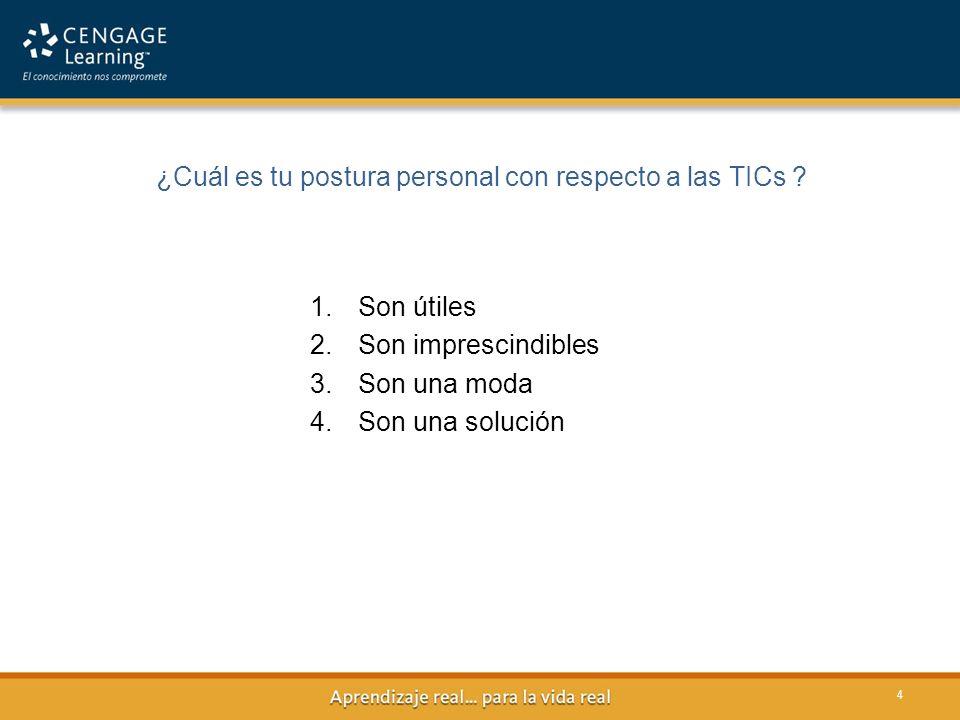 ¿Cuál es tu postura personal con respecto a las TICs ? 4 1.Son útiles 2.Son imprescindibles 3.Son una moda 4.Son una solución