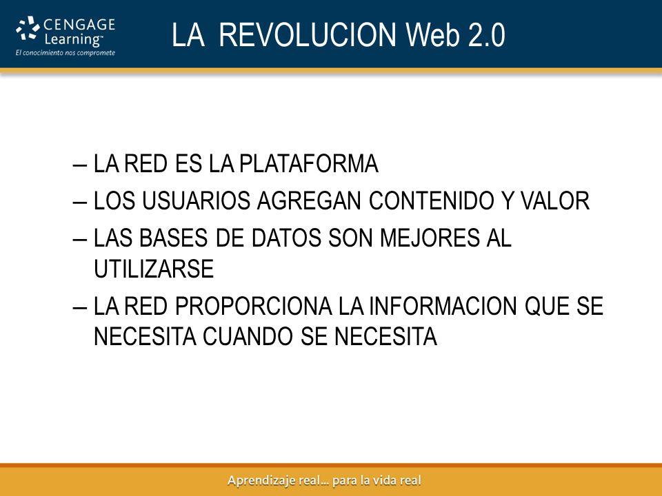 LA REVOLUCION Web 2.0 – LA RED ES LA PLATAFORMA – LOS USUARIOS AGREGAN CONTENIDO Y VALOR – LAS BASES DE DATOS SON MEJORES AL UTILIZARSE – LA RED PROPORCIONA LA INFORMACION QUE SE NECESITA CUANDO SE NECESITA