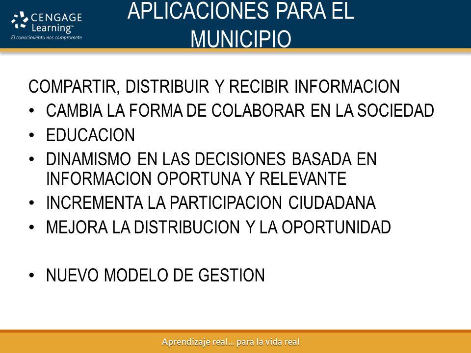 APLICACIONES PARA EL MUNICIPIO COMPARTIR, DISTRIBUIR Y RECIBIR INFORMACION CAMBIA LA FORMA DE COLABORAR EN LA SOCIEDAD EDUCACION DINAMISMO EN LAS DECISIONES BASADA EN INFORMACION OPORTUNA Y RELEVANTE INCREMENTA LA PARTICIPACION CIUDADANA MEJORA LA DISTRIBUCION Y LA OPORTUNIDAD NUEVO MODELO DE GESTION