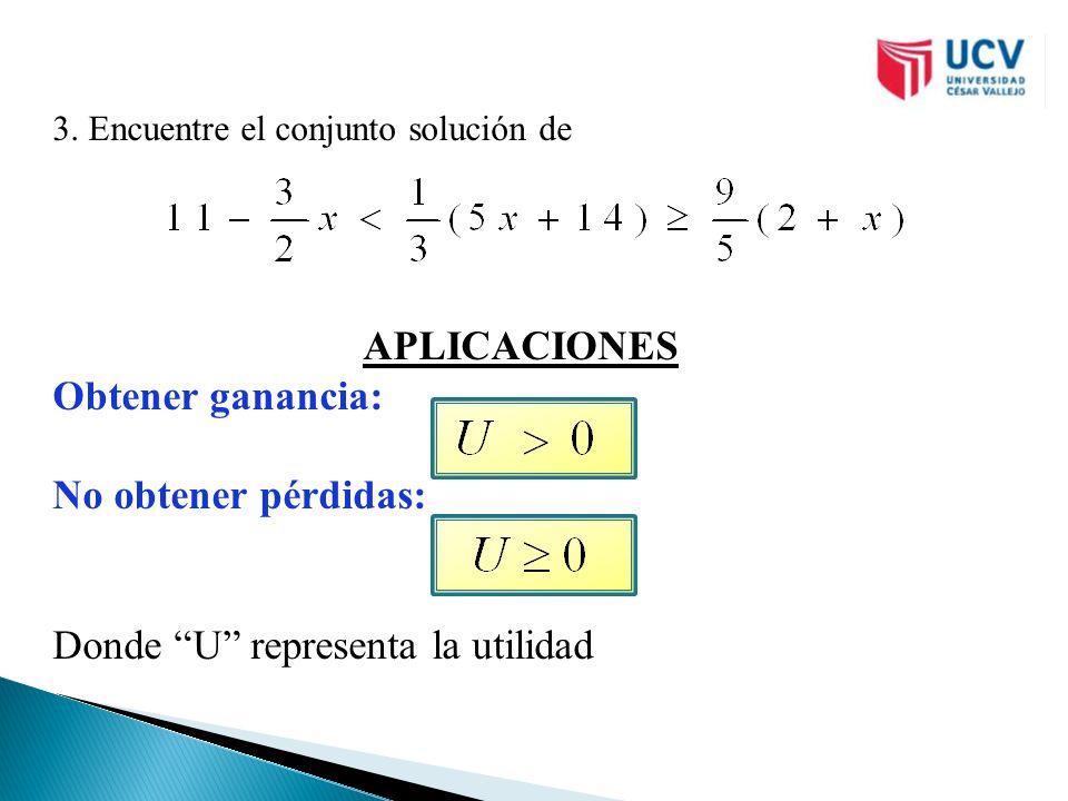 3. Encuentre el conjunto solución de APLICACIONES Obtener ganancia: No obtener pérdidas: Donde U representa la utilidad