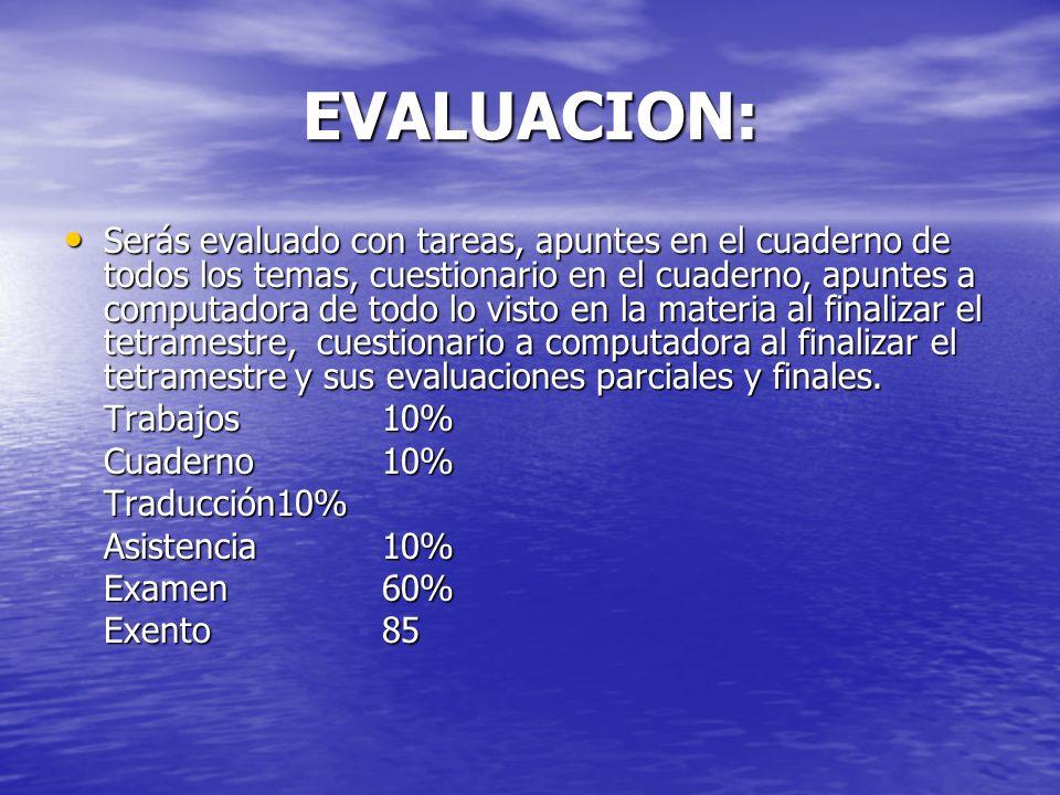 EVALUACION: Serás evaluado con tareas, apuntes en el cuaderno de todos los temas, cuestionario en el cuaderno, apuntes a computadora de todo lo visto