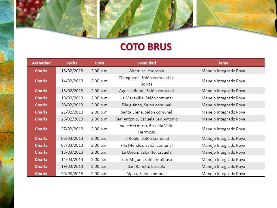 ActividadFecha HoraLocalidadTema Charla13/02/20132:00 p.mAltamira, AsoprolaManejo Integrado Roya Charla14/02/20132:00 p.m Changuena, Salón comunal La