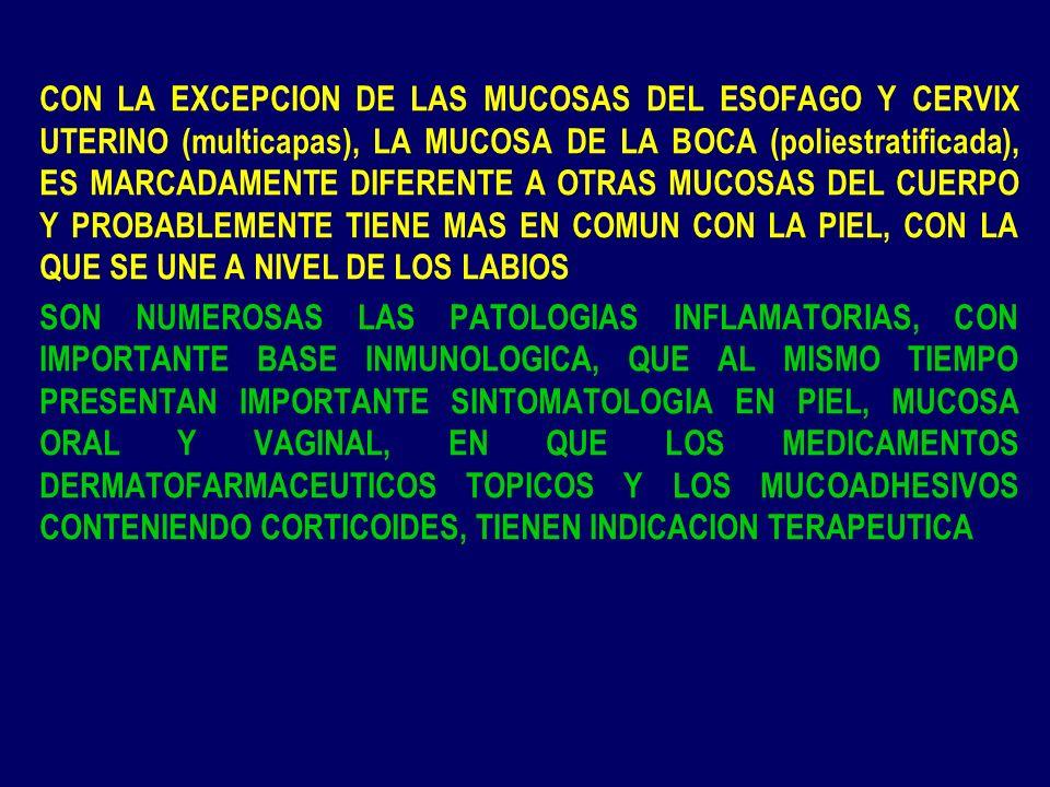 LA BIODISPONIBILIDAD DE LOS CORTICOIDES, HA SIDO UN GRAN DESAFIO DESDE EL COMIENZO DE LA DECADA DEL 60 LA BIODISPONIBILIDAD DE UN CORTICOIDE TOPICO EN UNA FF MUCOADHESIVA, ES EL PARAMETRO MAS CRITICO DESDE UN PUNTO DE VISTA BIOFARMACEUTICO Y FARMACOCINETICO BIODISPONIBILIDAD DE LOS CORTICOIDES las dificultades intrínsecas al fármaco el que las FF FF mucoadhesivas sean anhidras el corticoide en general, no se encuentra disuelto ni activado termodinámicamente con uso de cosolvente, como en FF de uso en piel, en particular STD para escapar del vehículo, debe primero disolverse en el agua de la saliva que penetra en la FF mucoadhesiva, adquirir actividad termodinámica para que pueda difundir pasivamente a través de epitelios con diferente grado de queratinización, y alcanzar concentraciones terapéuticamente útiles en la lesión, o niveles plasmáticos adecuados cuando se busca acción sistémica la ultramolienda, la micronización, la nanoparticulación,y el fármaco en estado monomolecular, son grandes desafíos de biodisponibilidad, para fármacos potentes y que se usan a bajas concentraciones, como es el caso de los corticoides tópicos