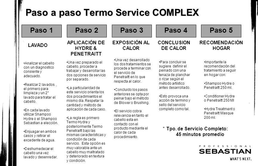 Paso a paso Termo Service COMPLEX Paso 1Paso 2Paso 3Paso 4Paso 5 LAVADO APLICACIÓN DE HYDRE & PENETRAITT EXPOSICIÓN AL CALOR CONCLUSION DE CALOR RECOM