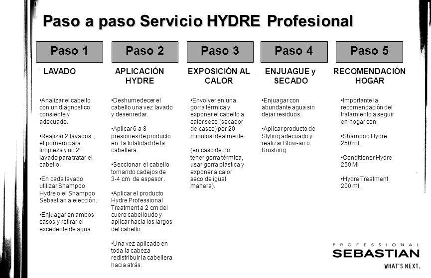Paso a paso Servicio HYDRE Profesional Paso 1Paso 2Paso 3Paso 4Paso 5 LAVADOAPLICACIÓN HYDRE EXPOSICIÓN AL CALOR ENJUAGUE y SECADO RECOMENDACIÓN HOGAR