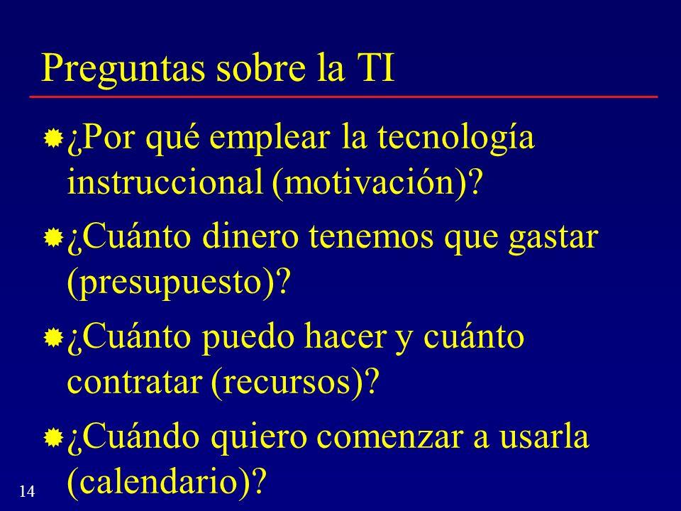 14 Preguntas sobre la TI ¿Por qué emplear la tecnología instruccional (motivación)? ¿Cuánto dinero tenemos que gastar (presupuesto)? ¿Cuánto puedo hac