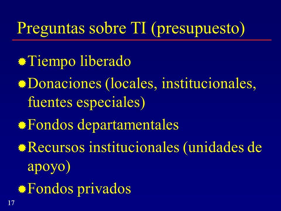17 Preguntas sobre TI (presupuesto) Tiempo liberado Donaciones (locales, institucionales, fuentes especiales) Fondos departamentales Recursos instituc