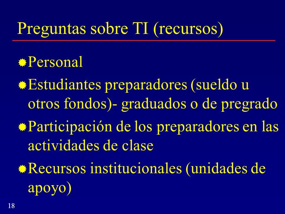 18 Preguntas sobre TI (recursos) Personal Estudiantes preparadores (sueldo u otros fondos)- graduados o de pregrado Participación de los preparadores