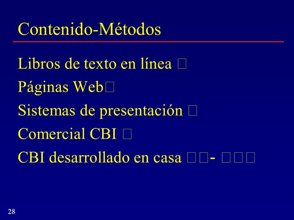 28 Contenido-Métodos Libros de texto en línea Páginas Web Sistemas de presentación Comercial CBI CBI desarrollado en casa -