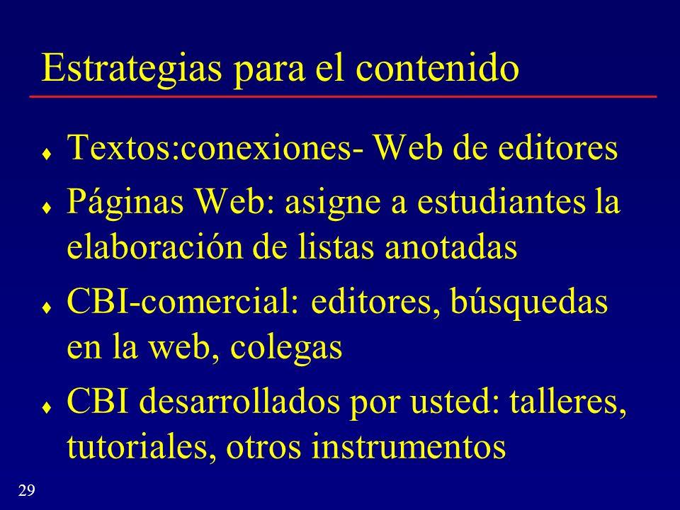 29 Estrategias para el contenido Textos:conexiones- Web de editores Páginas Web: asigne a estudiantes la elaboración de listas anotadas CBI-comercial: