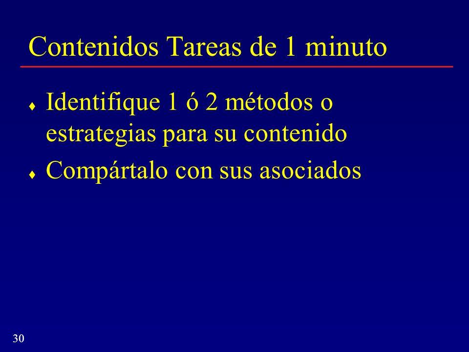 30 Contenidos Tareas de 1 minuto Identifique 1 ó 2 métodos o estrategias para su contenido Compártalo con sus asociados