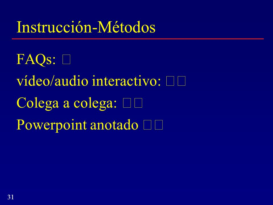 31 Instrucción-Métodos FAQs: vídeo/audio interactivo: Colega a colega: Powerpoint anotado