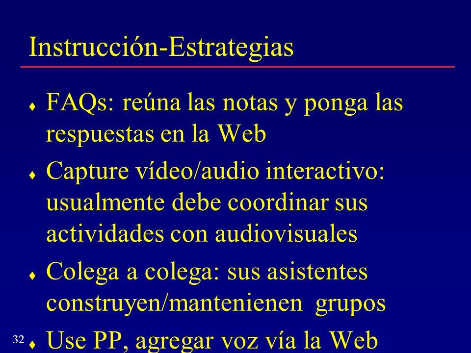 32 Instrucción-Estrategias FAQs: reúna las notas y ponga las respuestas en la Web Capture vídeo/audio interactivo: usualmente debe coordinar sus activ