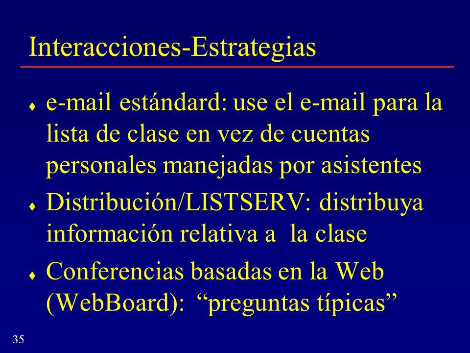 35 Interacciones-Estrategias e-mail estándard: use el e-mail para la lista de clase en vez de cuentas personales manejadas por asistentes Distribución