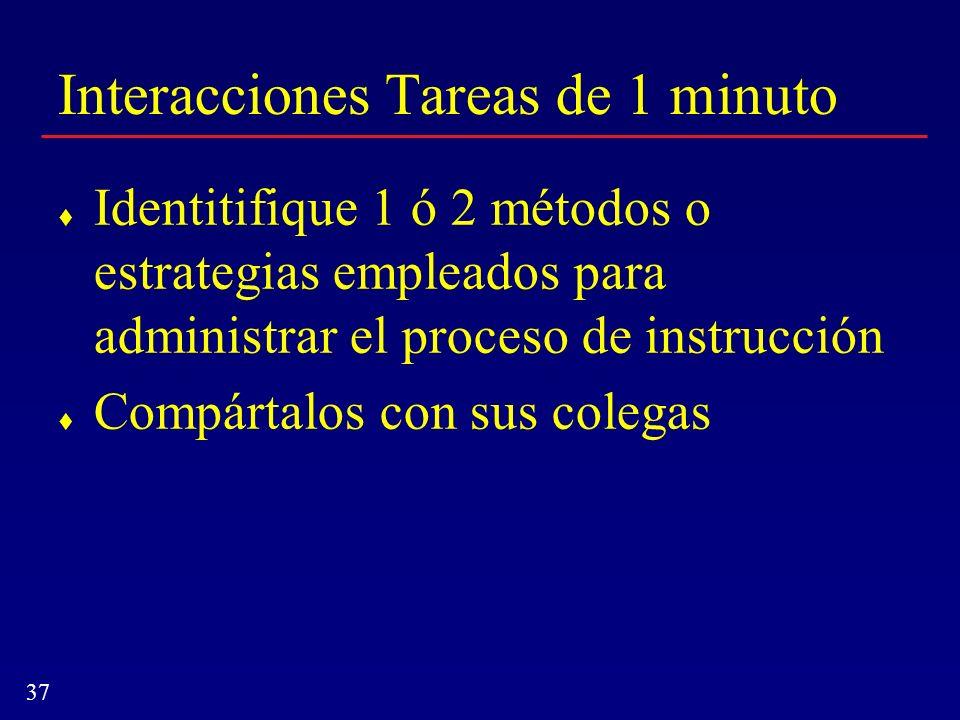 37 Interacciones Tareas de 1 minuto Identitifique 1 ó 2 métodos o estrategias empleados para administrar el proceso de instrucción Compártalos con sus