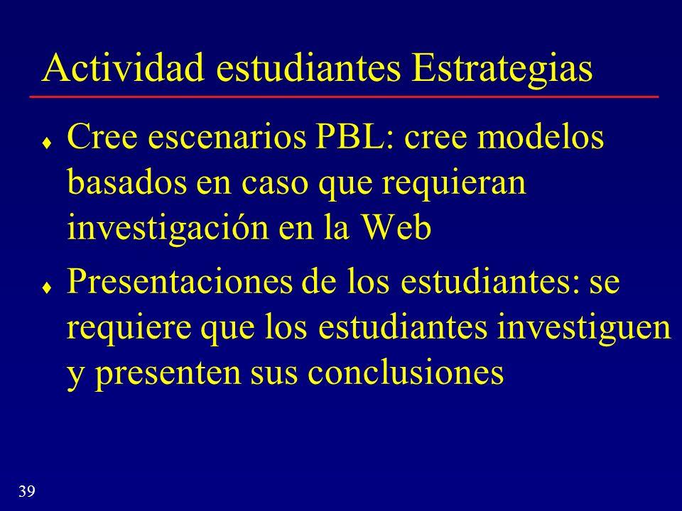 39 Actividad estudiantes Estrategias Cree escenarios PBL: cree modelos basados en caso que requieran investigación en la Web Presentaciones de los est