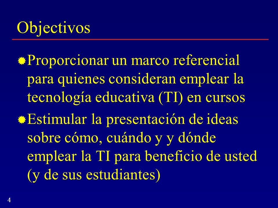 4 Objectivos Proporcionar un marco referencial para quienes consideran emplear la tecnología educativa (TI) en cursos Estimular la presentación de ide