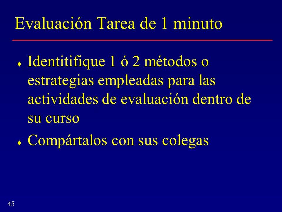 45 Evaluación Tarea de 1 minuto Identitifique 1 ó 2 métodos o estrategias empleadas para las actividades de evaluación dentro de su curso Compártalos