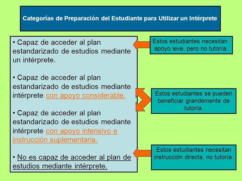 Capaz de acceder al plan estandarizado de estudios mediante un intérprete.