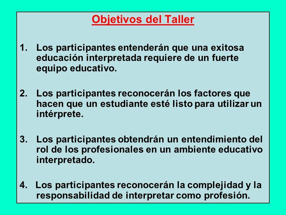 Objetivos del Taller 1.Los participantes entenderán que una exitosa educación interpretada requiere de un fuerte equipo educativo.