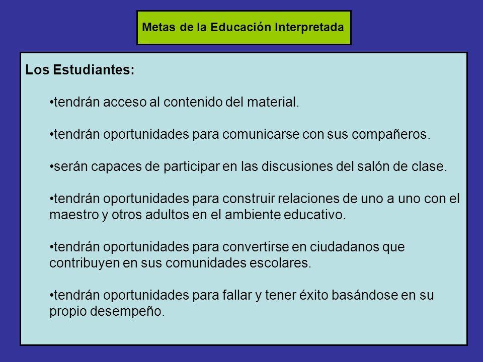 Los Estudiantes: tendrán acceso al contenido del material.
