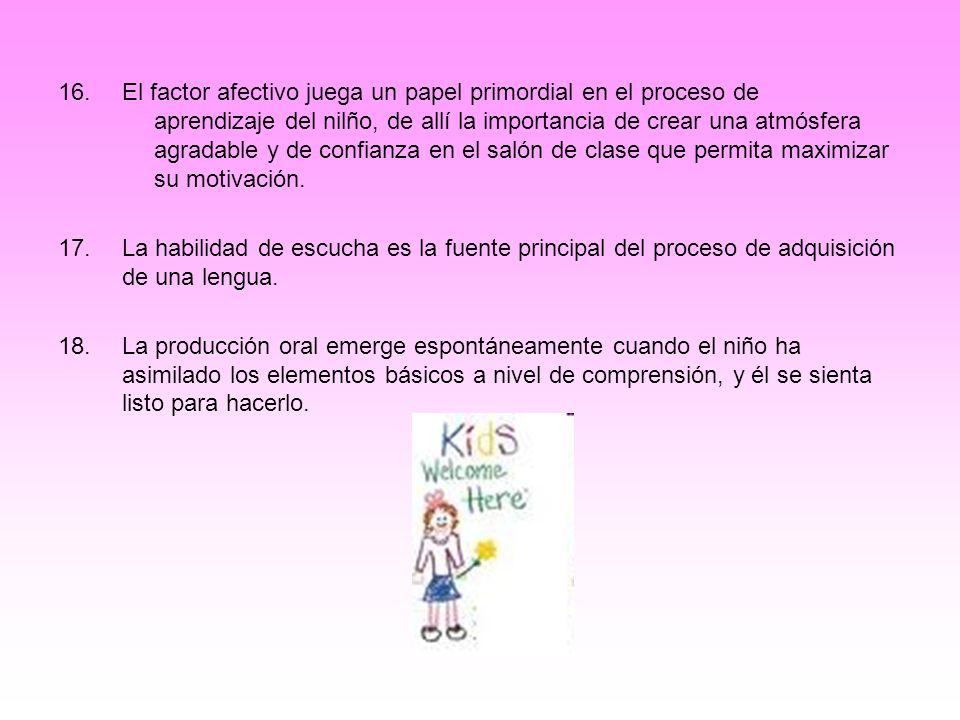 16.El factor afectivo juega un papel primordial en el proceso de aprendizaje del nilño, de allí la importancia de crear una atmósfera agradable y de c