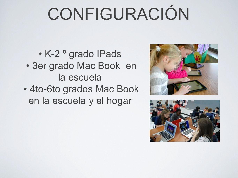 CONFIGURACIÓN K-2 º grado IPads 3er grado Mac Book en la escuela 4to-6to grados Mac Book en la escuela y el hogar