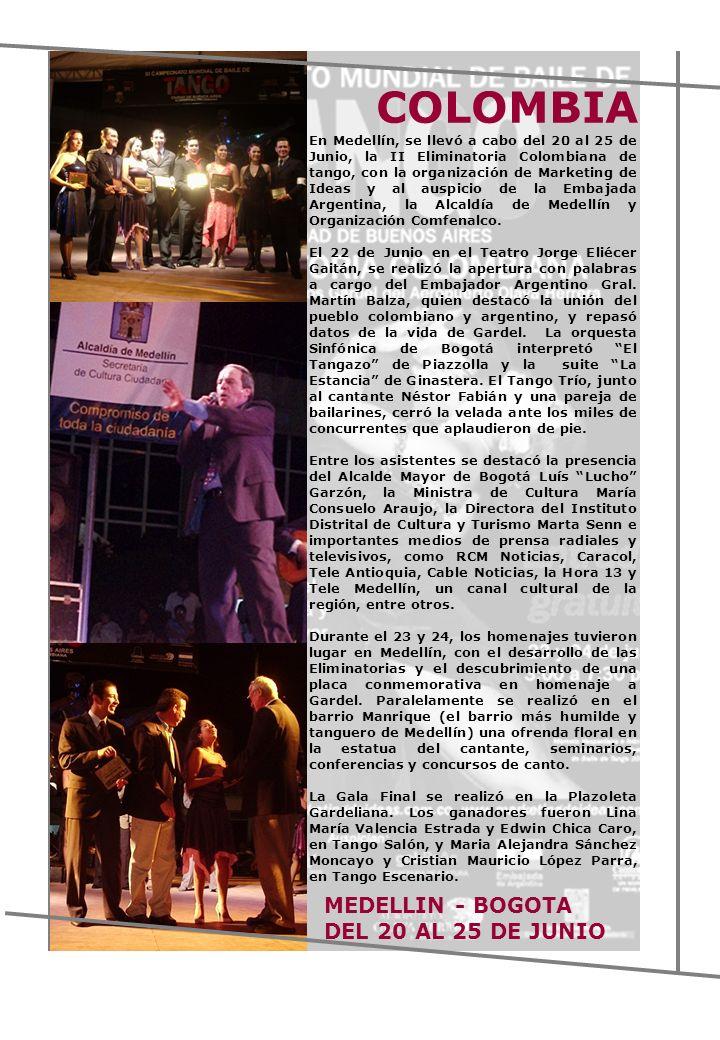 En Medellín, se llevó a cabo del 20 al 25 de Junio, la II Eliminatoria Colombiana de tango, con la organización de Marketing de Ideas y al auspicio de