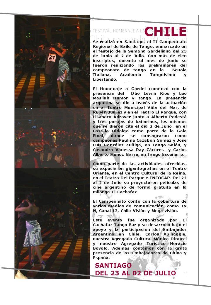 Se realizó en Santiago, el II Campeonato Regional de Baile de Tango, enmarcado en el festejo de la Semana Gardeliana del 23 de Junio al 2 de Julio. Co