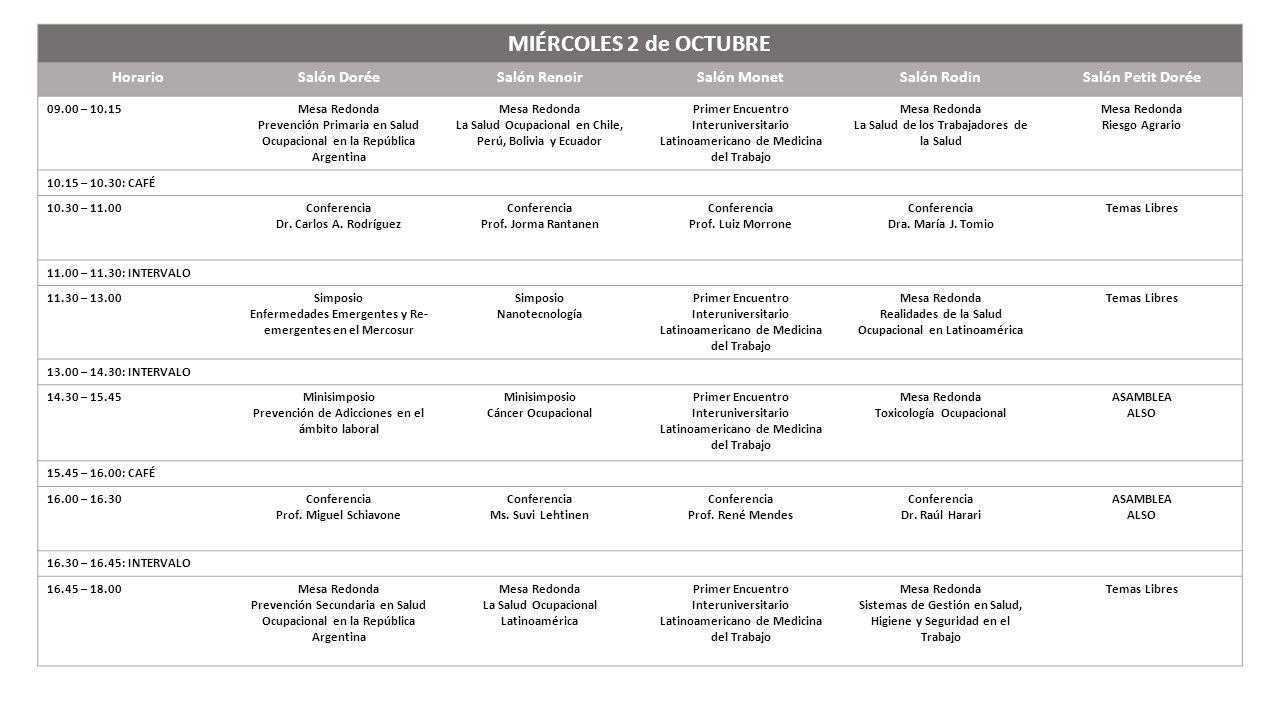 MIÉRCOLES 2 de OCTUBRE HorarioSalón DoréeSalón RenoirSalón MonetSalón RodinSalón Petit Dorée 09.00 – 10.15Mesa Redonda Prevención Primaria en Salud Oc