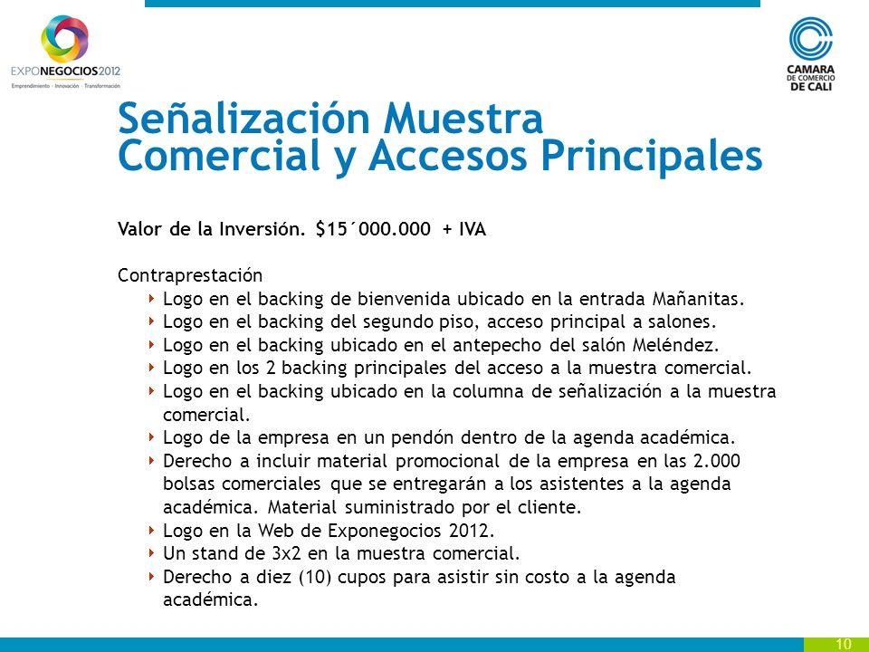 10 Señalización Muestra Comercial y Accesos Principales Valor de la Inversión.