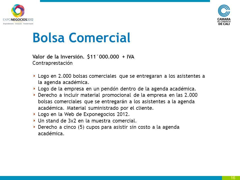 16 Bolsa Comercial Valor de la Inversión.