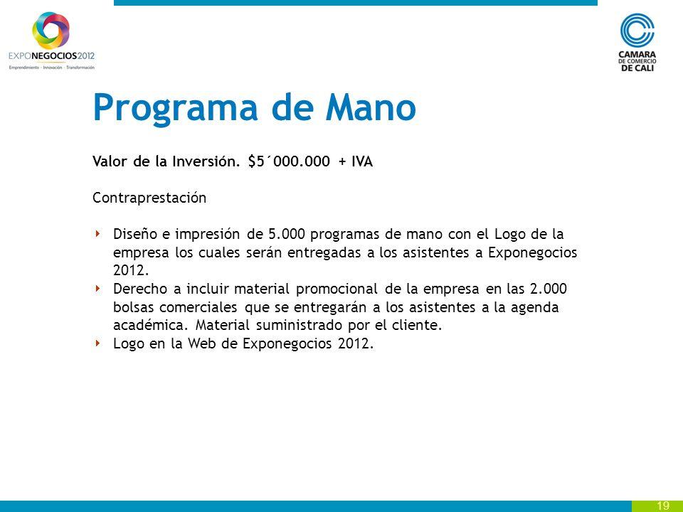 19 Programa de Mano Valor de la Inversión.