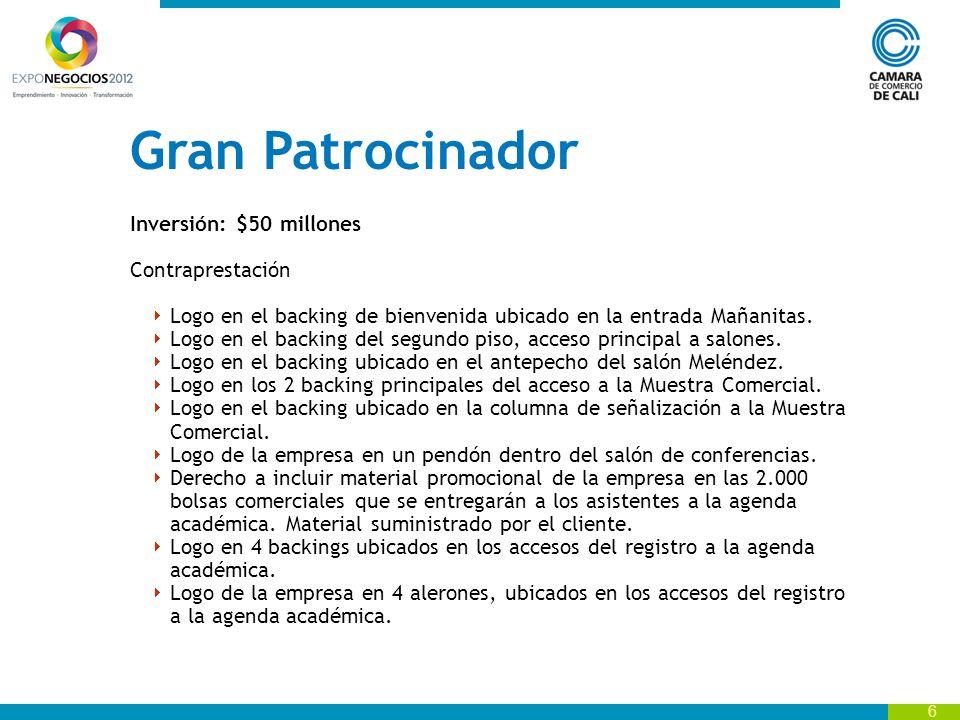 7 Gran Patrocinador Inversión: $50 millones … Contraprestación Logo en backing ubicado en la entrada al parqueadero.