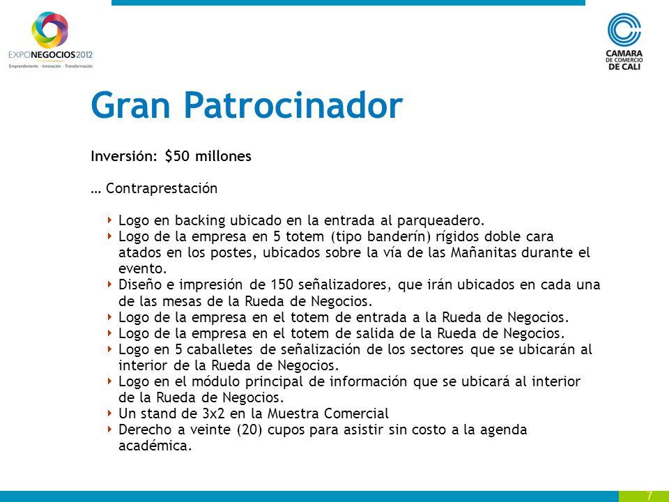 8 Copatrocinador Inversión: $25 millones Contraprestación Logo en el backing de bienvenida ubicado en la entrada Mañanitas.