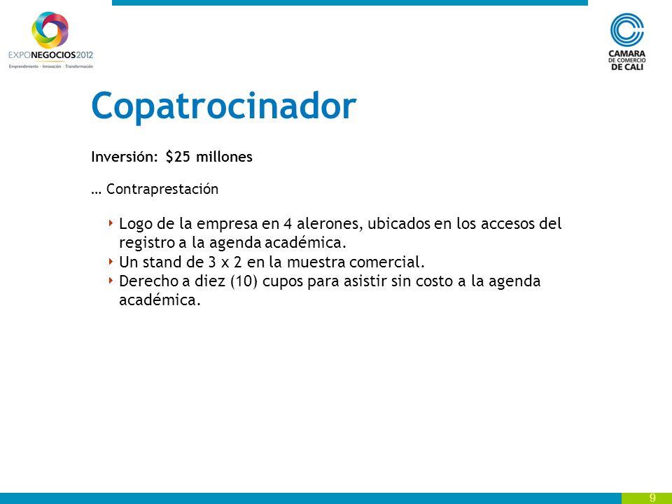 9 Copatrocinador Inversión: $25 millones … Contraprestación Logo de la empresa en 4 alerones, ubicados en los accesos del registro a la agenda académica.