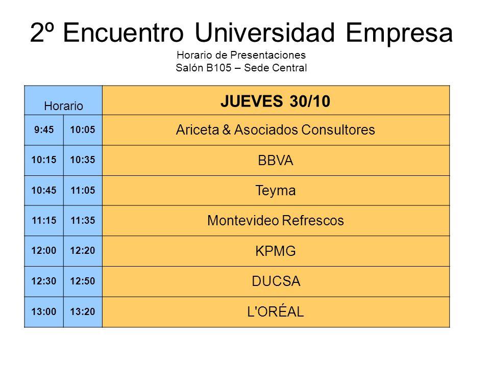 2º Encuentro Universidad Empresa Horario de Presentaciones Salón B105 – Sede Central Horario JUEVES 30/10 9:4510:05 Ariceta & Asociados Consultores 10