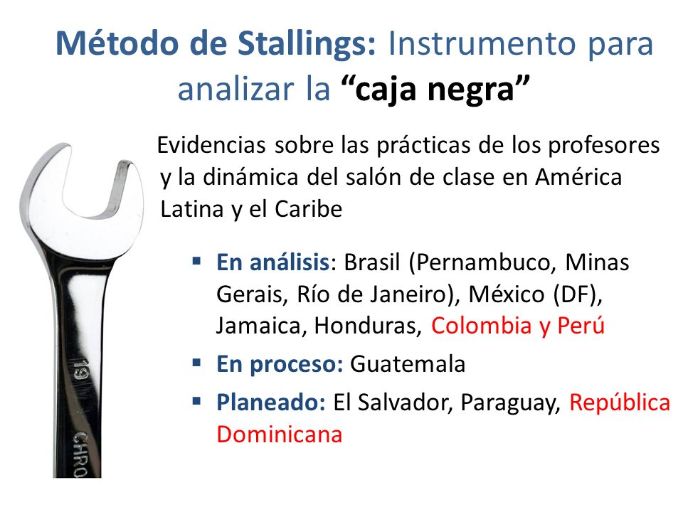 Método de Stallings: Instrumento para analizar la caja negra Evidencias sobre las prácticas de los profesores y la dinámica del salón de clase en Amér