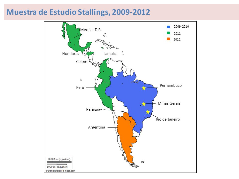 Minas Gerais Pernambuco Rio de Janeiro Jamaica Colombia Peru Paraguay Argentina Mexico, D.F.