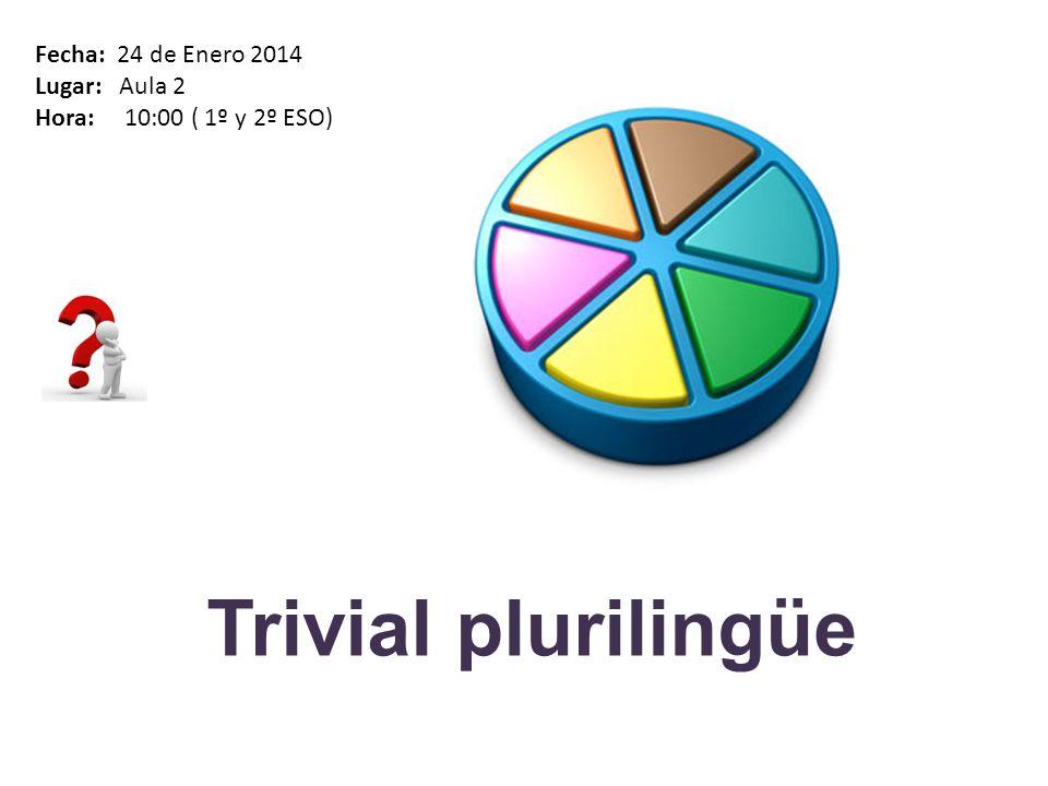 Trivial plurilingüe Fecha: 24 de Enero 2014 Lugar: Aula 2 Hora: 10:00 ( 1º y 2º ESO)